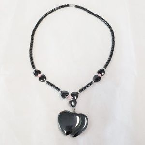 Double Heart Hematite Pink Bead Necklace